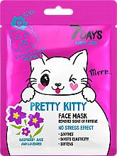 Perfumería y cosmética Mascarilla facial con jugo de frambuesa y lavanda - 7 Days Animal Pretty Kitty