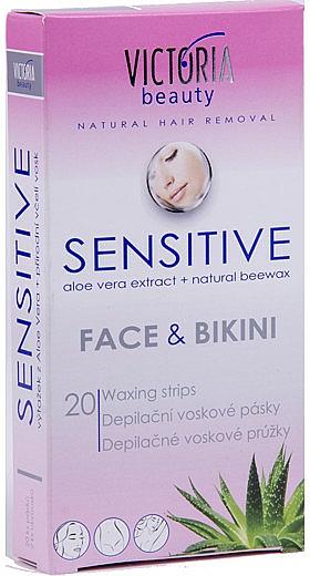 Bandas de cera depilatoria con aceite de almendras, zona bikini - Victoria Beauty Sensitive Face & Bikini Waxing Strips