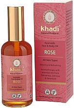 Perfumería y cosmética Aceite corporal y facial con extracto de rosa - Khadi