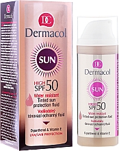 Perfumería y cosmética Fluido protector solar resistente al agua con color SPF 50 - Dermacol Sun WR Tinted Sun Protection Fluid SPF50