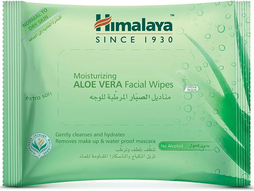 Toallitas húmedas desmaquillantes, pieles normales y secas - Himalaya Moisturizing Aloe Vera Facial Wipes