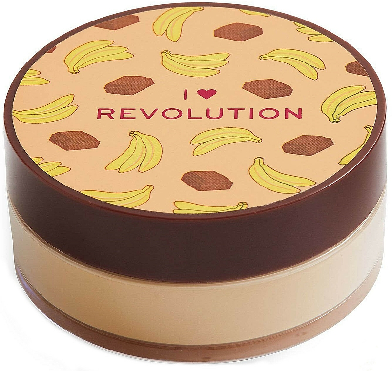 Polvo suelto de maquillaje cocido, aroma a plátano y chocolate - I Heart Revolution Loose Baking Powder Chocolate Banana
