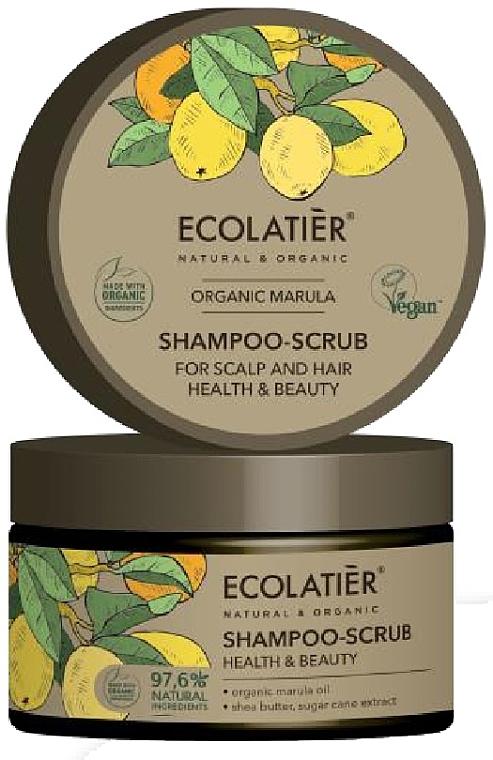 Champú-exfoliante para cabello y cuero cabelludo con aceite orgánico de marula, vegano - Ecolatier Organic Marula Shampoo-Scrub