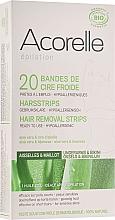 Perfumería y cosmética Bandas de cera debilatorias hipoalergénicas para pieles sensibles con aloe vera y cera de abeja, 20 uds. - Acorelle Wax Strips