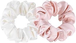 Perfumería y cosmética Coletero de seda natural, 2uds., blanco y rosa - Makeup Scrunchie Set Milk Powder, Midi