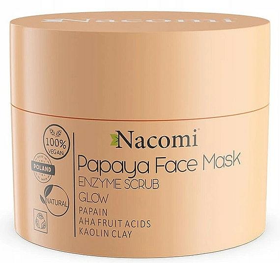 Mascarilla exfoliante facial con arcilla blanca y ácidos de frutas, 100% vegana - Nacomi Papaya Face Mask Enzyme Scrub
