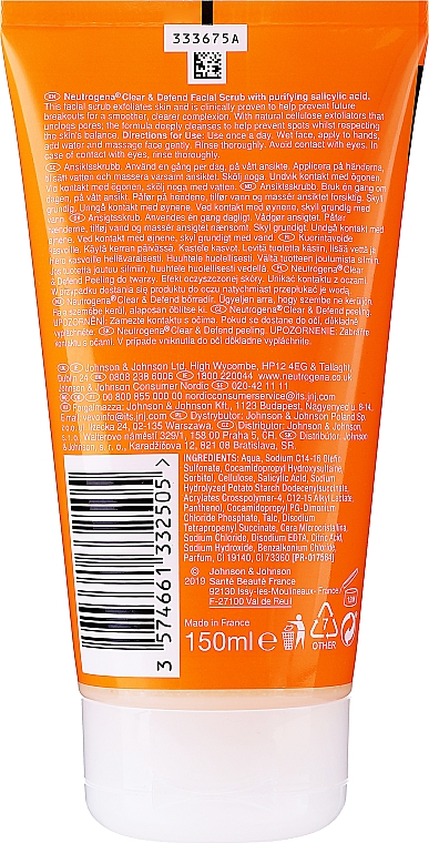 Exfoliante facial - Neutrogena Visibly Clear Spot Proofing Smoothing Scrub — imagen N4