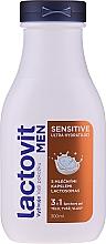Perfumería y cosmética Gel de ducha para cuerpo, rostro y cabello con proteína de leche - Lactovit Men Sensitive 3v1 Shower Gel