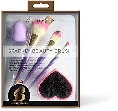 Perfumería y cosmética Beauty Look Sparkly Beauty Brush - Set de accesorios para maquillaje (brocha/2uds. + pincel/1ud, + esponja de maquillaje/1ud. + limpiador de brochas/1ud.)