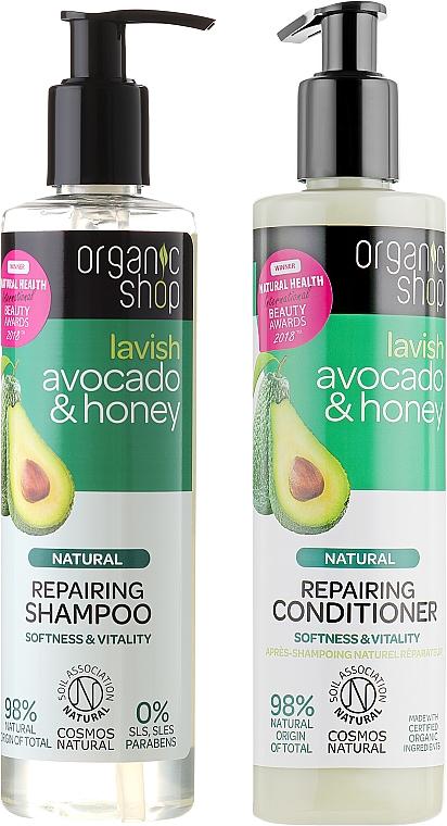 Set natural de lavado de cabello con aguacate y miel - Organic Shop (champú/280ml + acondicionador/280ml)