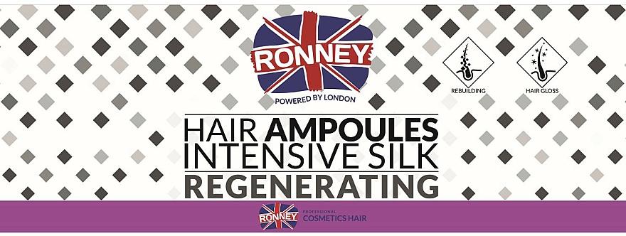 Tratamiento regenerador de cabello concentrado de seda, en ampollas (12x10ml) - Ronney Professional Hair Ampoules Intensive Silk Regenerating