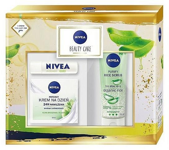 Set facial (crema/50ml + exfoliante/75ml + bálsamo labial/4.8g) - Nivea Beauty Care