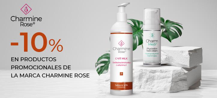 Descuento del 10% en productos promocionales de la marca Charmine Rose. Los precios indicados tienen el descuento aplicado