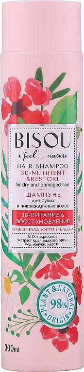 Champú natural con extracto de nuez de Brasil, miel de manuca y queratina - Bisou Hair Shampoo 3D-Nutrien & Restore