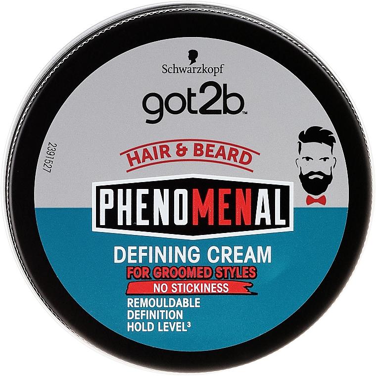 Crema moldeadora de fijación media para barba y cabello - Schwarzkopf Got2b Phenomenal Defining Cream