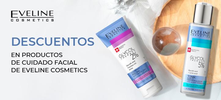 Descuentos en productos de cuidado facial de Eveline Cosmetics. Los precios indicados tienen el descuento aplicado