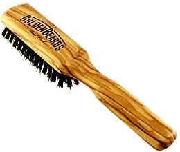 Perfumería y cosmética Cepillo de barba de madera de olivo con cerdas naturales de jabalí, 20cm - Golden Beards Beard Brush