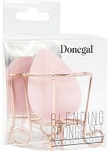 Perfumería y cosmética Esponja de maquillaje con soporte, rosa - Donegal