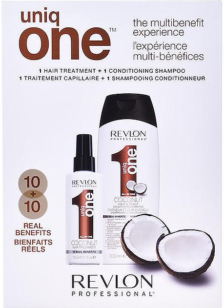 Set (champú acondicionador/300ml + tratamiento/150ml) - Revlon Professional Uniq One The Multibenefit Experience  — imagen N1