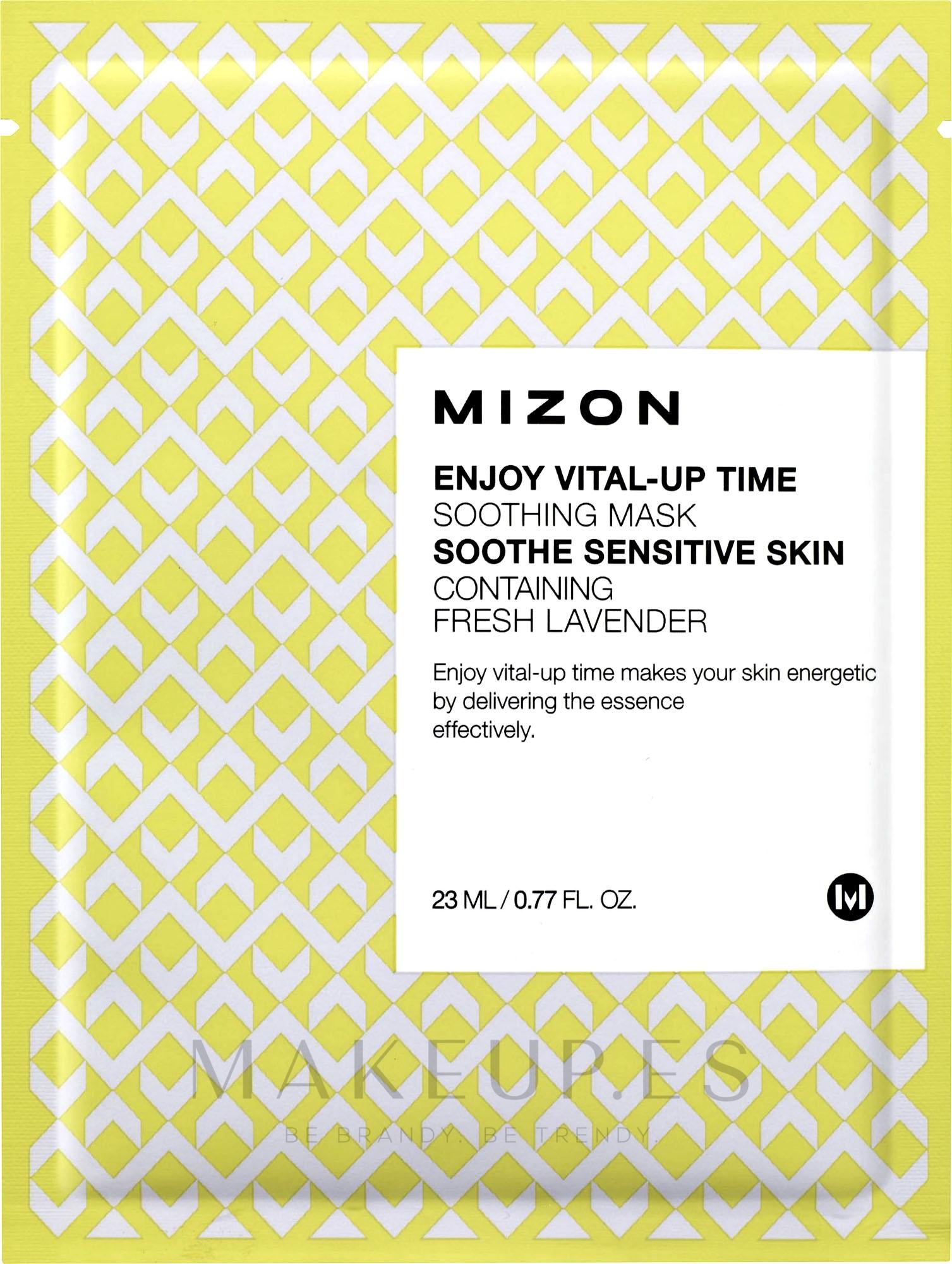 Mascarilla facial natural de algodón con vitamina C y betacaroteno - Mizon Enjoy Vital-Up Time Soothing Mask — imagen 23 ml