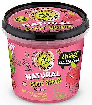 Exfoliante corporal de azúcar con extracto orgánico de lichi, aroma a chicle - Planeta Organica Natural Body Scrub Lychee & Bubble Gum