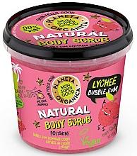 Perfumería y cosmética Exfoliante corporal de azúcar con extracto orgánico de lichi, aroma a chicle - Planeta Organica Natural Body Scrub Lychee & Bubble Gum