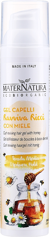 Gel para cabello revitalizante de rizos con miel - MaterNatura Curl Reviving Hair Gel With Honey