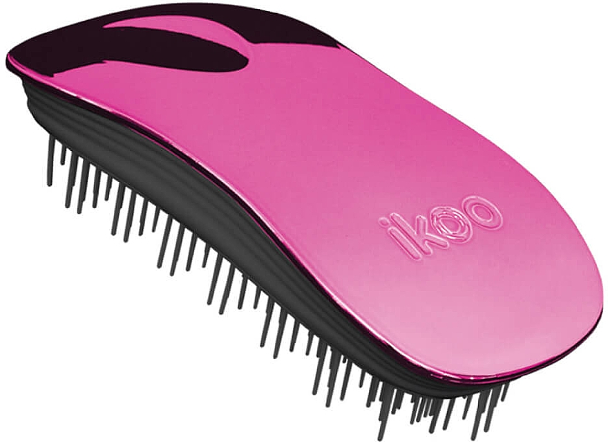 Cepillo vegano desenredante para cabello, rosa-negro - Ikoo Home Cherry Metallic Brush