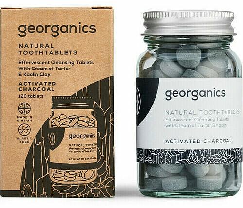 Pasta dental en tabletas vegana con carbón activado, sabor a menta 120uds - Georganics Natural Toothtablets Activated Charcoal
