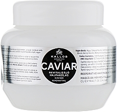 Perfumería y cosmética Mascarilla para cabello con extracto de caviar negro - Kallos Cosmetics Anti-Age Hair Mask