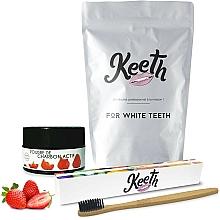 Perfumería y cosmética Kit blanqueamiento dental 100% natural con carbón activo, sabor a fresa - Keeth Strawberry Charcoal Kit (cepillo/1ud. + polvo dental/15g + pack)