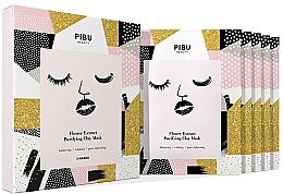 Perfumería y cosmética Set mascarillas faciales de tejido con arcilla purificadora y extractos florales - Pibu Beauty Flower Extract Purifying Clay Mask Set (f/mask/5x18g)