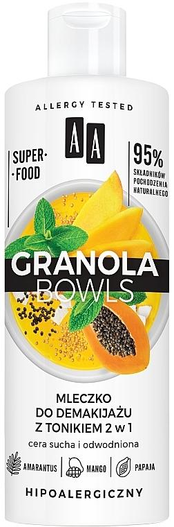 Leche desmaquillante con tónico con extracto de mango y papaya para piel seca y deshidratada - AA Granola Bowls Makeup Remover Milk And Tonic 2 in 1