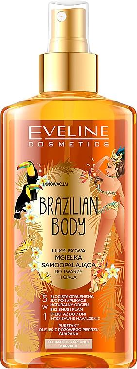 Autobronceador instantáneo para rostro y cuerpo, pieles claras y medias, con aceite de nuez y guaraná - Eveline Cosmetics Brazilian Mist Face & Body