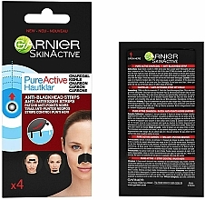 Perfumería y cosmética Tiras limpiadoras de puntos negros de nariz con carbón activo - Garnier Skin Active Pure Active Anti-Blackhead Charcoal Strips