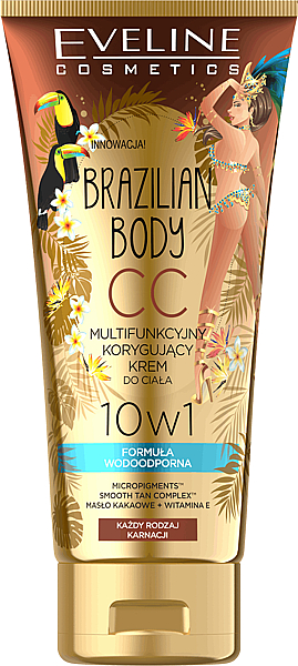 CC crema corporal multifuncional resistente al agua con efecto bronceador - Eveline Cosmetics Brazilian Body Waterproof Multi Functional CC Cream