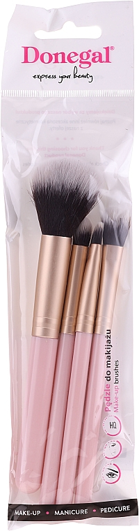 Set brochas y pinceles de maquillaje, 4uds., rosa - Donegal