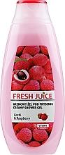 Perfumería y cosmética Crema de ducha con vitaminas, extracto de frambuesa & lichi - Fresh Juice Creamy Shower Gel Litchi & Raspberry
