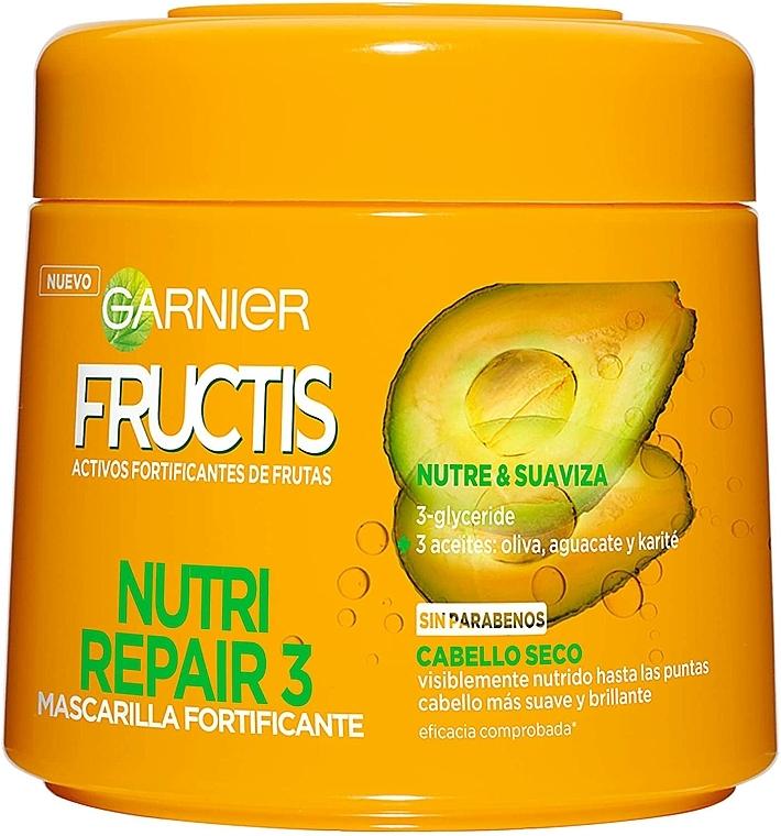 Mascarilla reparadora para cabello con aceite de oliva, aguacate y karité - Garnier Fructis triple reparación — imagen N1