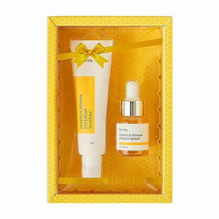 Set de contorno de ojos (crema/30ml + sérum/15ml) - iUNIK Propolis Vitamin Eye Cream Set