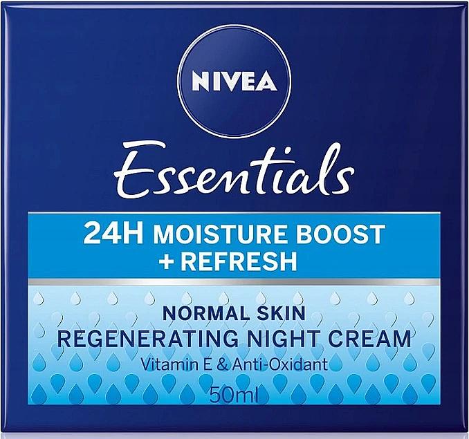 Crema de noches con extracto de loto sagrado y vitamina E - Nivea Essentials 24H Moisture Boost + Refresh Cream