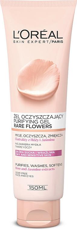 Gel purificador para rostro y ojos con extractos de rosa y jazmín - L'Oreal Paris Rare Flowers Puryfaing Gel Dry and Sensative Skin