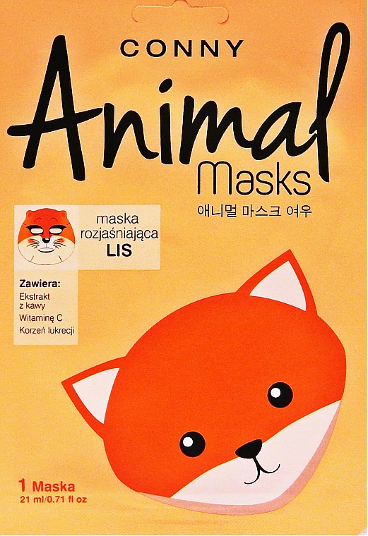 Mascarilla facial aclarante de tejido con extracto de café y vitamina C - Conny Animal Essence Mask — imagen N1