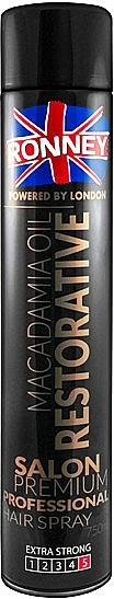 Laca restauradora antihumedad con aceite de macadamia, fijación extra fuerte - Ronney Macadamia Oil Restorative Hair Spray