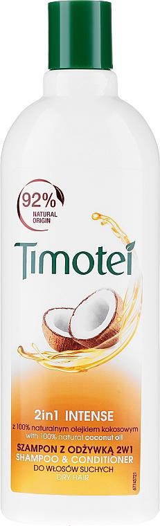 Champú y acondicionador 2en1 con aceite de coco 100% natural y 0% parabenos - Timotei 2 in 1 Intense Shampo & Conditioner