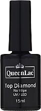 Perfumería y cosmética Top coat no pegajoso, UV/LED - QueenLac Top Diamond No Wipe UV/LED