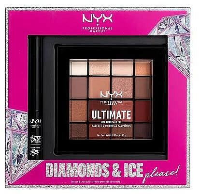 Set de maquillaje - NYX Professional Makeup Diamonds & Ice Please Shadow & Liner Set (paleta/16x1.18g+delineador/2ml)