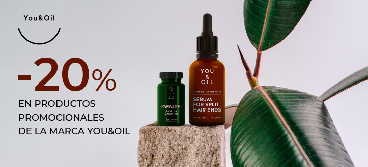 Descuento del 20% en productos promocionales de la marca You&Oil. Los precios indicados tienen el descuento aplicado