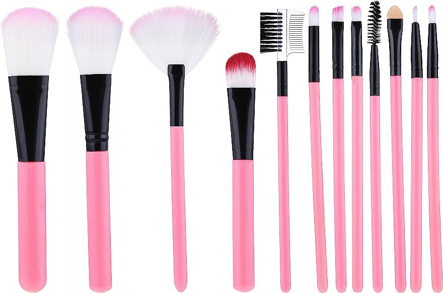 Set brochas y pinceles de maquillaje, rosa, 12uds. - Lewer