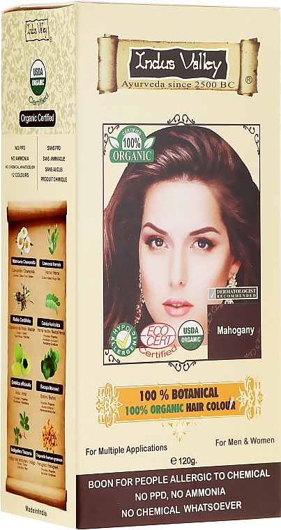 Tinte para cabello 100% orgánico a base de hierbas - Indus Valley 100% Botanical Hair Colour